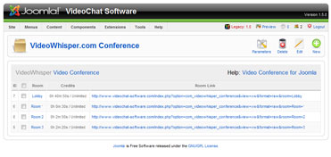 Video Conference Rooms can be edited from joomla administrator interface.
